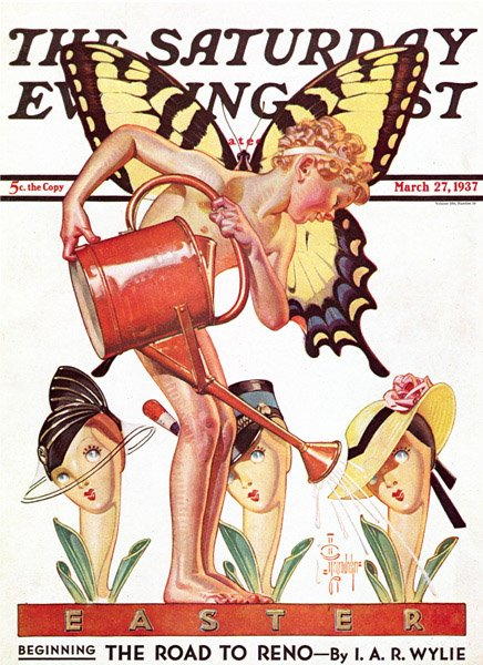 Leyendecker, Watering the Lillies, Saturday Evening Post cover, March 27, 1937