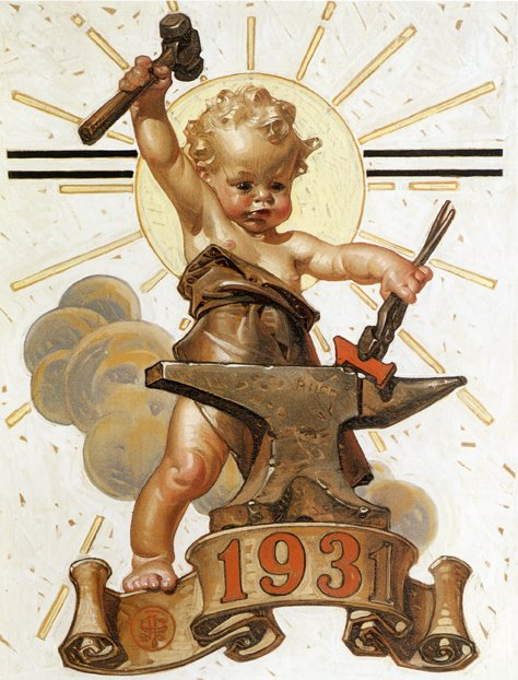 Leyendecker, Baby Forges Ahead, Saturday Evening Post cover, December, 1930