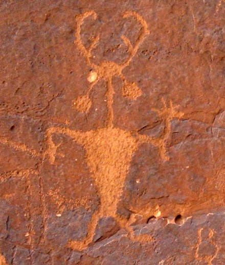 Moab Man, Fremont Culture Petroglyph, circa 1000 CE, Moab, Utah, photograph by DB Dowd, 2008