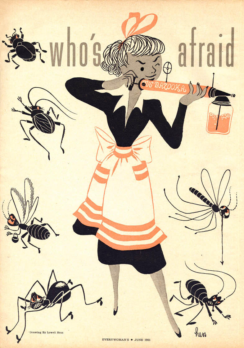 Lowell Hess, Who's Afraid of the Big Bad Bug! interior magazine spread illustration, Every Woman Magazine, 1961