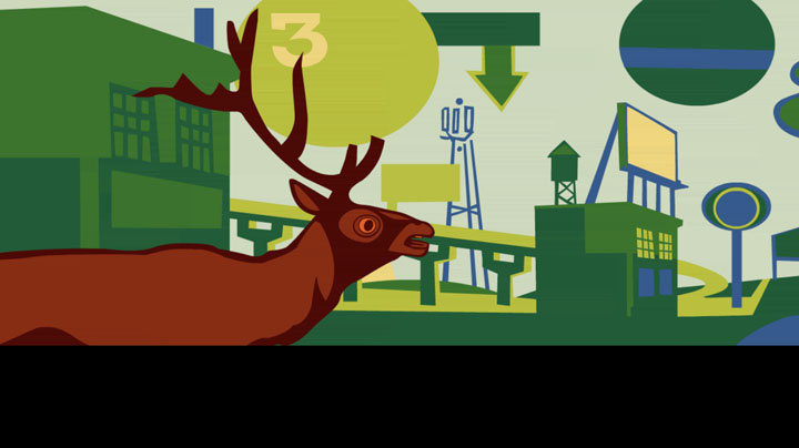 Dowd, Elk in Cityscape, animation still, Scenes from Starkdale, Ohio, 2006