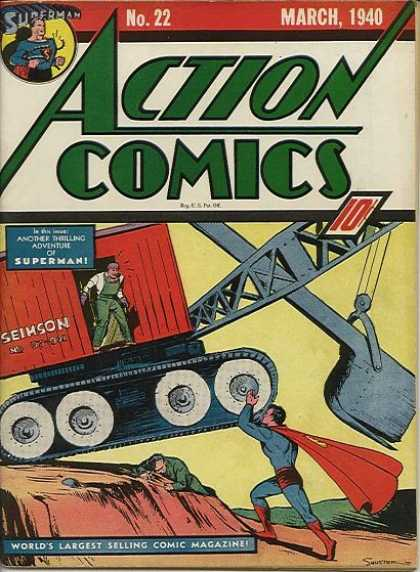 Joe Shuster, cover illustration, Action Comics #22, March 1940