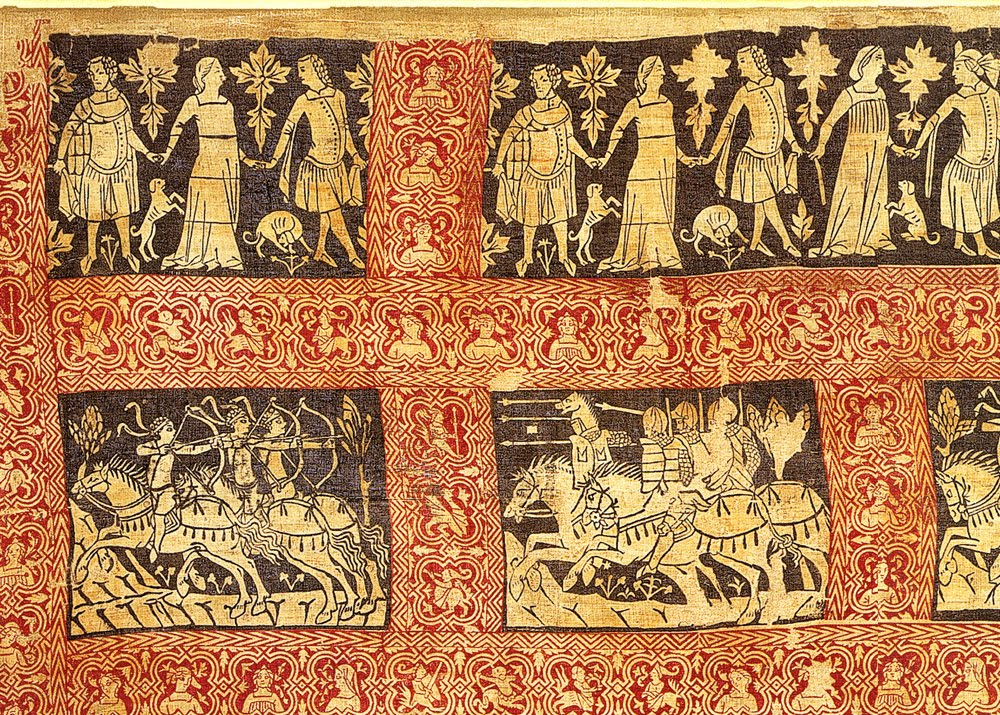 The Sion Textile, North Italian (probably Venetian) woodcut on linen depicting the Legend of Oedipus, oldest extant printed textile in Europe, second half of the 14th century