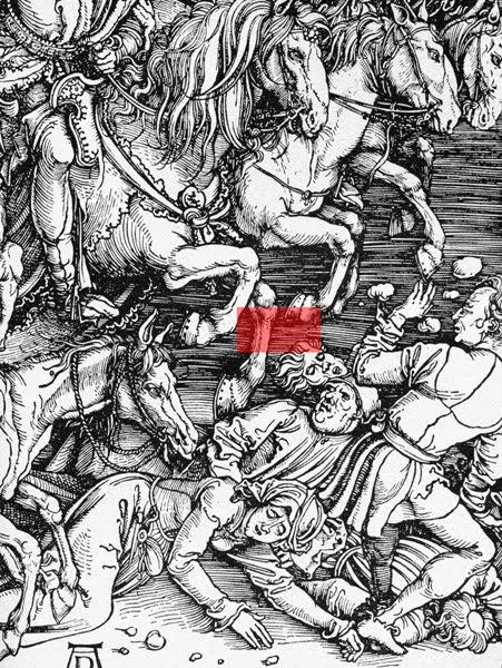 Albrecht Dürer, details fromFour Horsemen of the Apocalypse, woodcut, circa 1497-98