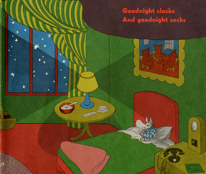 Clement Hurd, illustration for Goodnight, Moon, by Margaret Wise Brown, published by Harper & Brothers, 1947.