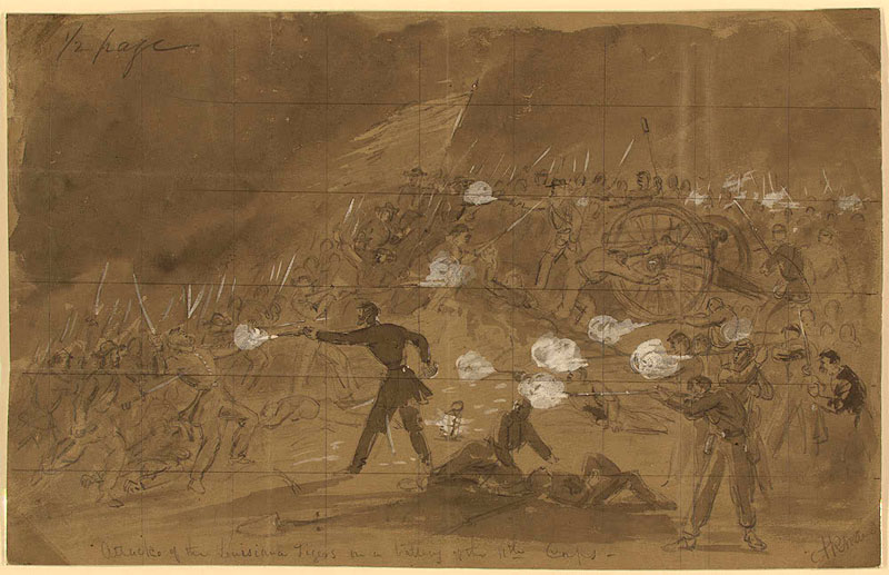 Alfred Waud, Attack of the Louisiana Tigers on a Battery of the 11th Corps at Gettysburg, (July 1, 1863) ink and Chinese white on brown paper