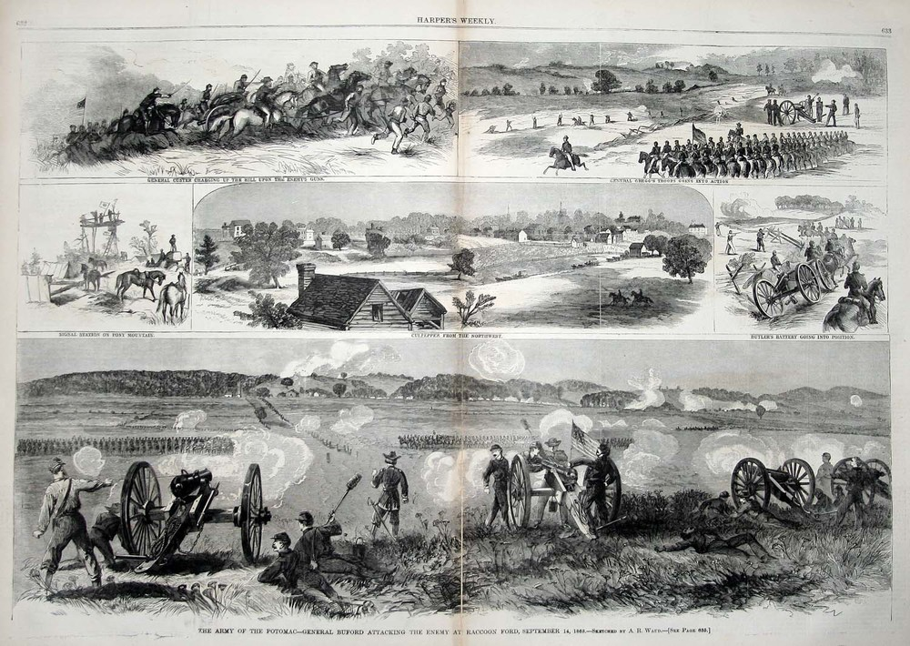 Waud,Army of the Potomac–General Buford Attacked the Enemy at Raccoon Ford, September 14, 1863, wood engraving in Harper's Weekly, October 3, 1863