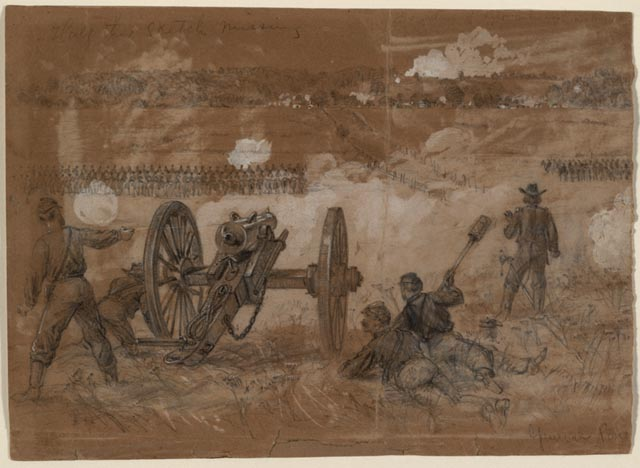 Waud, Reconnoisance [sic.] by Buford's Calvary Towards the Rapidan River, ink and china white on brown paper