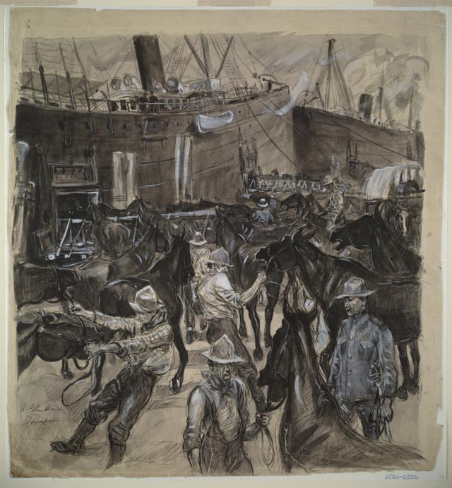 William Glackens, Loading Horses on the Transports at Port Tampa, Inkwash and Chinese white, field sketch on assignment for McClure's Magazine, 1898