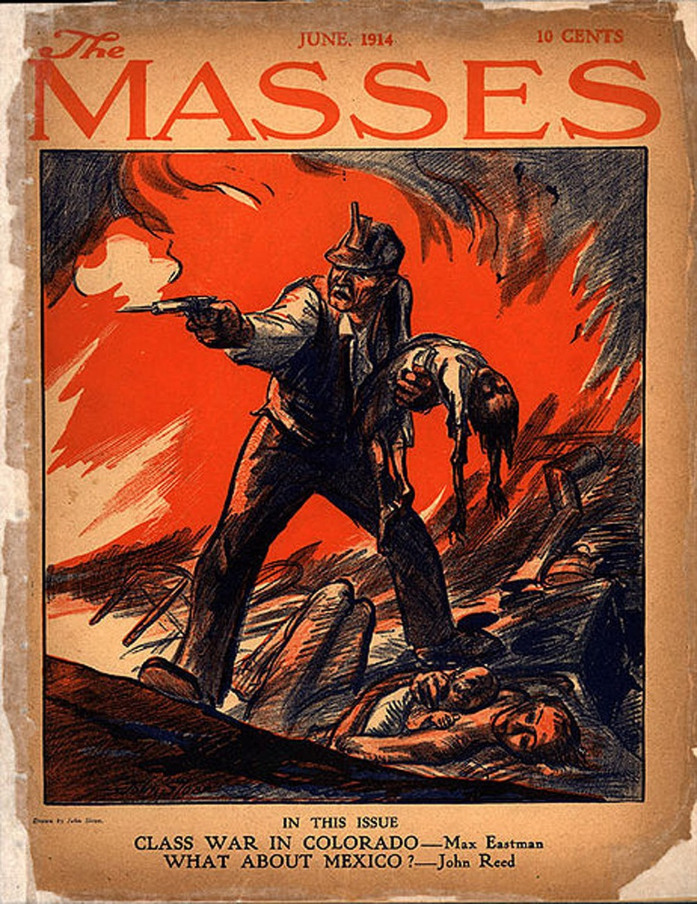 John Sloan, Ludlow Massacre, magazine cover forThe Masses, June 1914
