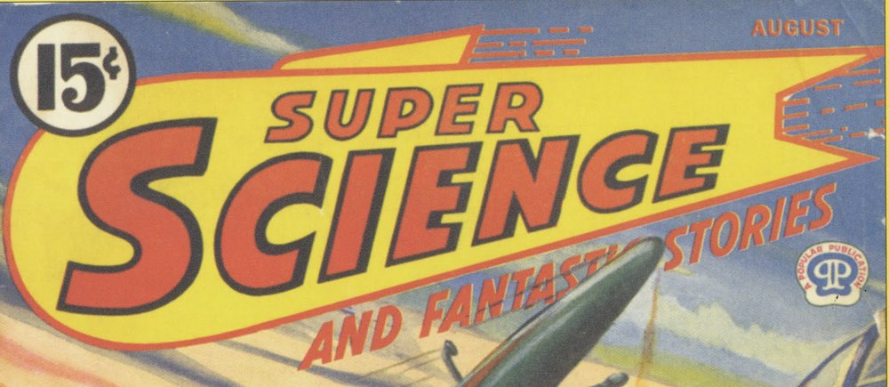 Designer unknown,  Super Science  wordmark, A Popular Publication, 1943