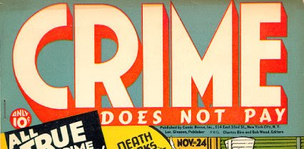 designer unknown, wordmark for Lev Gleason's  Crime Does Not Pay , early 1950s, with various color treatments