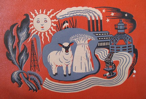 Milo Winter (speculative), cover design for  Childcraft Books  Volume 14, Science and Industry, Field Enterprises, 1949