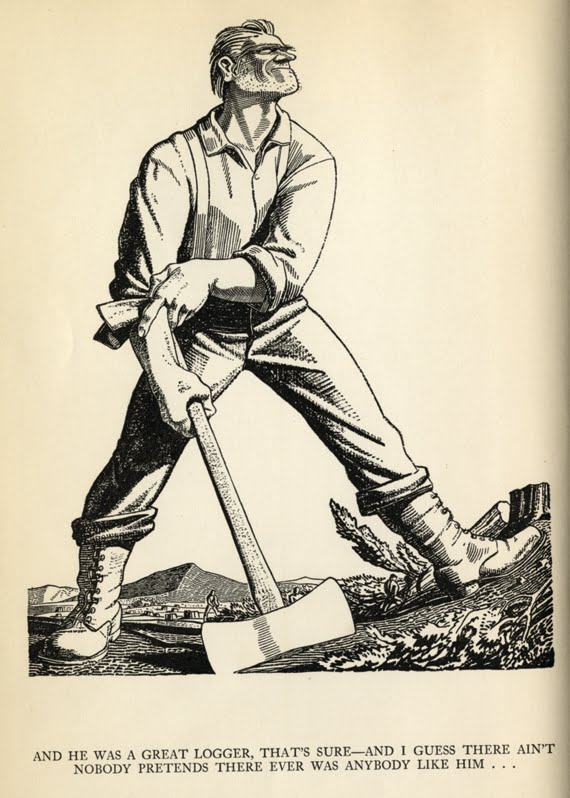 Rockwell Kent, selected illustrations and initial capitals, Paul Bunyan, by Esther Shepard and designed by Rockwell Kent, Harcourt Brace, 1924