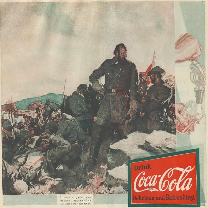 Haddon Sundblom, Stonewall Jackson on the march...ready for a fresh start after a short rest period, Coca-Cola ad, Ladies Home Journal, October 1931