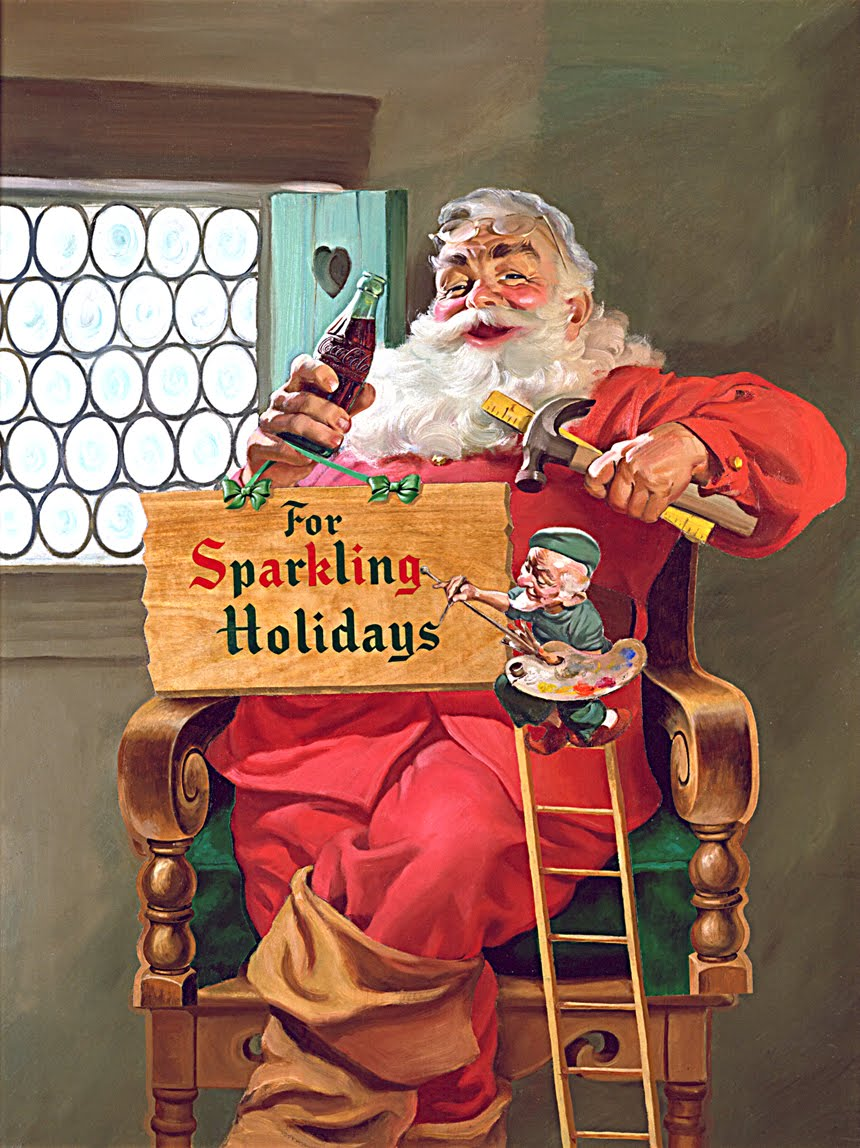 Haddon Sundblom,For Sparkling Holidays, Coca-Cola ad, circa 1935