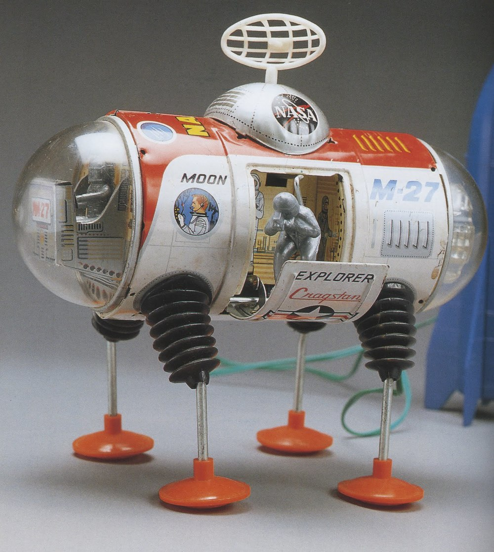 Moon Explorer, tin toy by Yonezawa, 1960s; and Capsule 6, tin toy by Masudaya, 1960s; both photographs by Yukio Shimizu, reproduced in Robots, Spaceships and Other Tin Toys, Taschen, 2006 (first edition 1996)