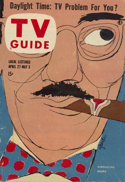 Al Parker,Groucho Marx, cover illustration for TV Guide; April 27, 1957