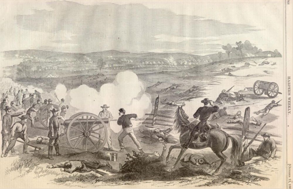 Alfred Waud,  Battle of Antietam , engraving in Harper's Weekly, October 11, 1862. The battle took place on September 17.