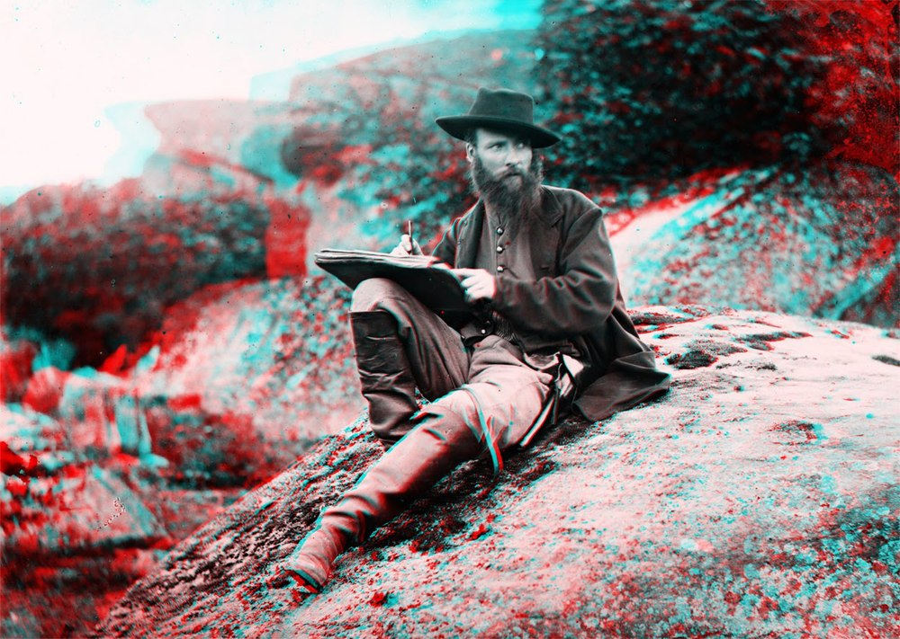 Timothy O'Sullivan, Stereophotograph of Alfred Waud in Devil's Den at Gettysburg, 1863.