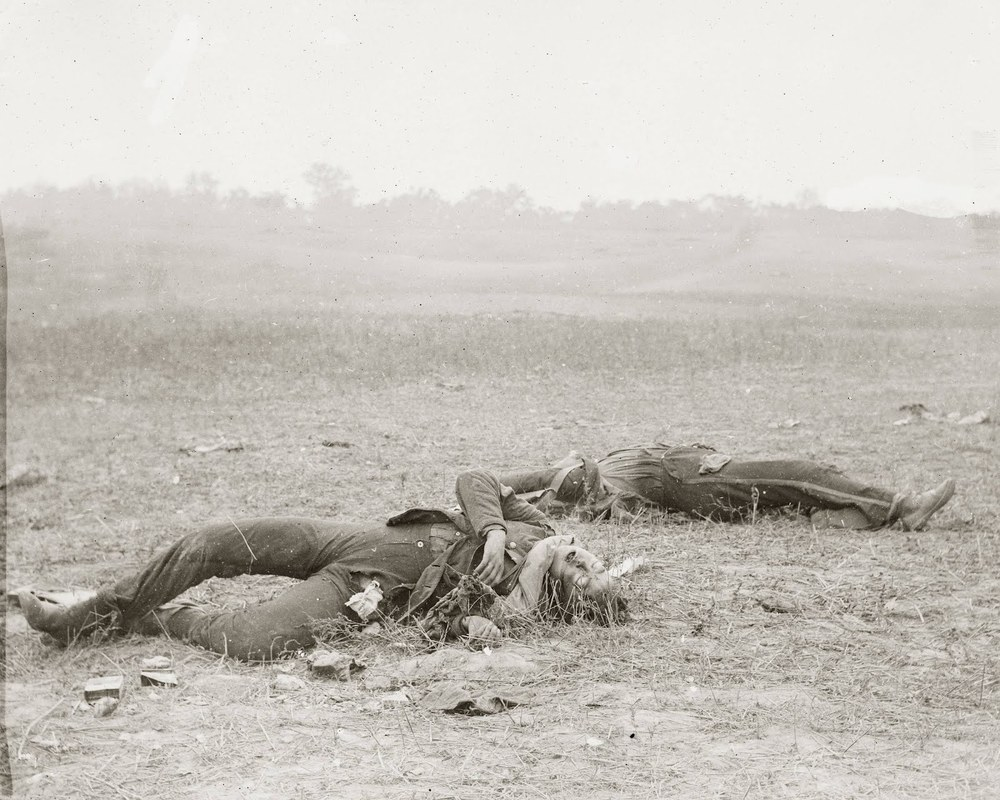 Alexander Gardner, Confederate Soldiers as they fell by Burnside Bridge, photograph at Antietam battlefield, September 1863.
