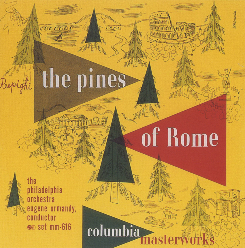 Alex Steinweiss, album cover design for  Respighi: The Pines of Rome , conducted by Eugene Ormandy, Columbia Records, 1946