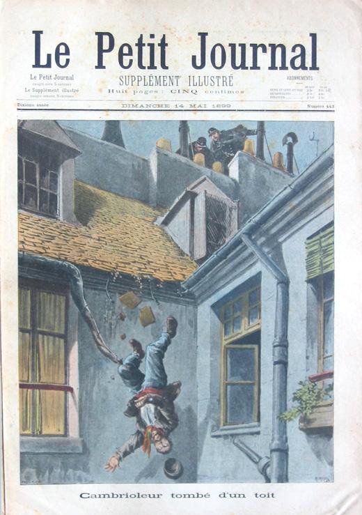 Illustrator credit unavailable,Falling Burglar, Le Petit Journal Illustrated Supplement, Paris, Sunday May 14, 1899