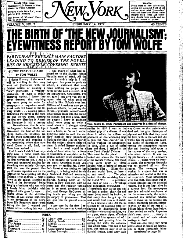 Photographer credit unavailable,Photograph of Tom Wolfe, cover, New York Magazine, February 14, 1972