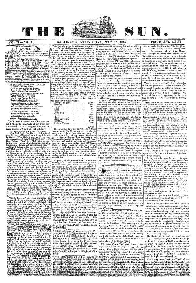 The first issue of the Baltimore Sun, published May 17, 1837