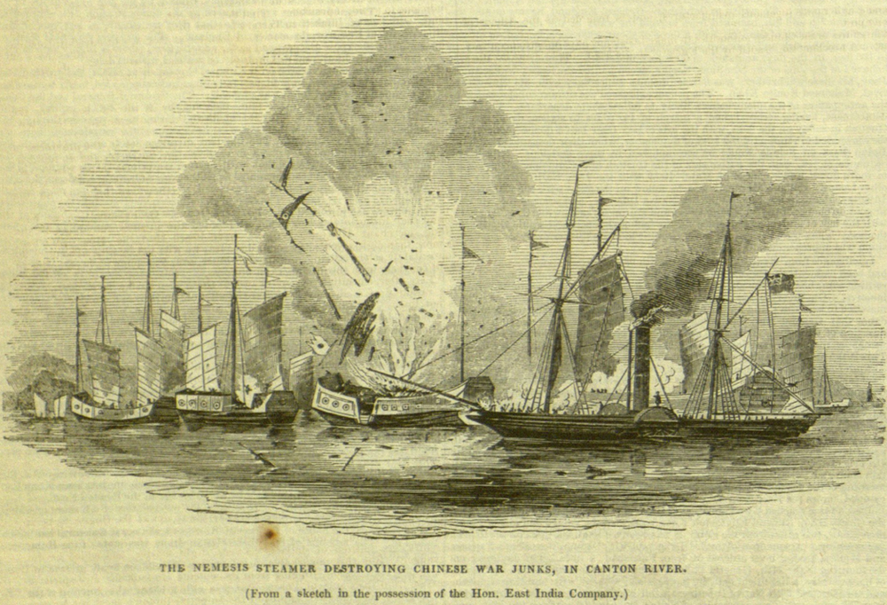 Nemesis steamer destroying Chinese war junks in the Canton Riverduring the First Opium War; Illustrated London News, November 12, 1842