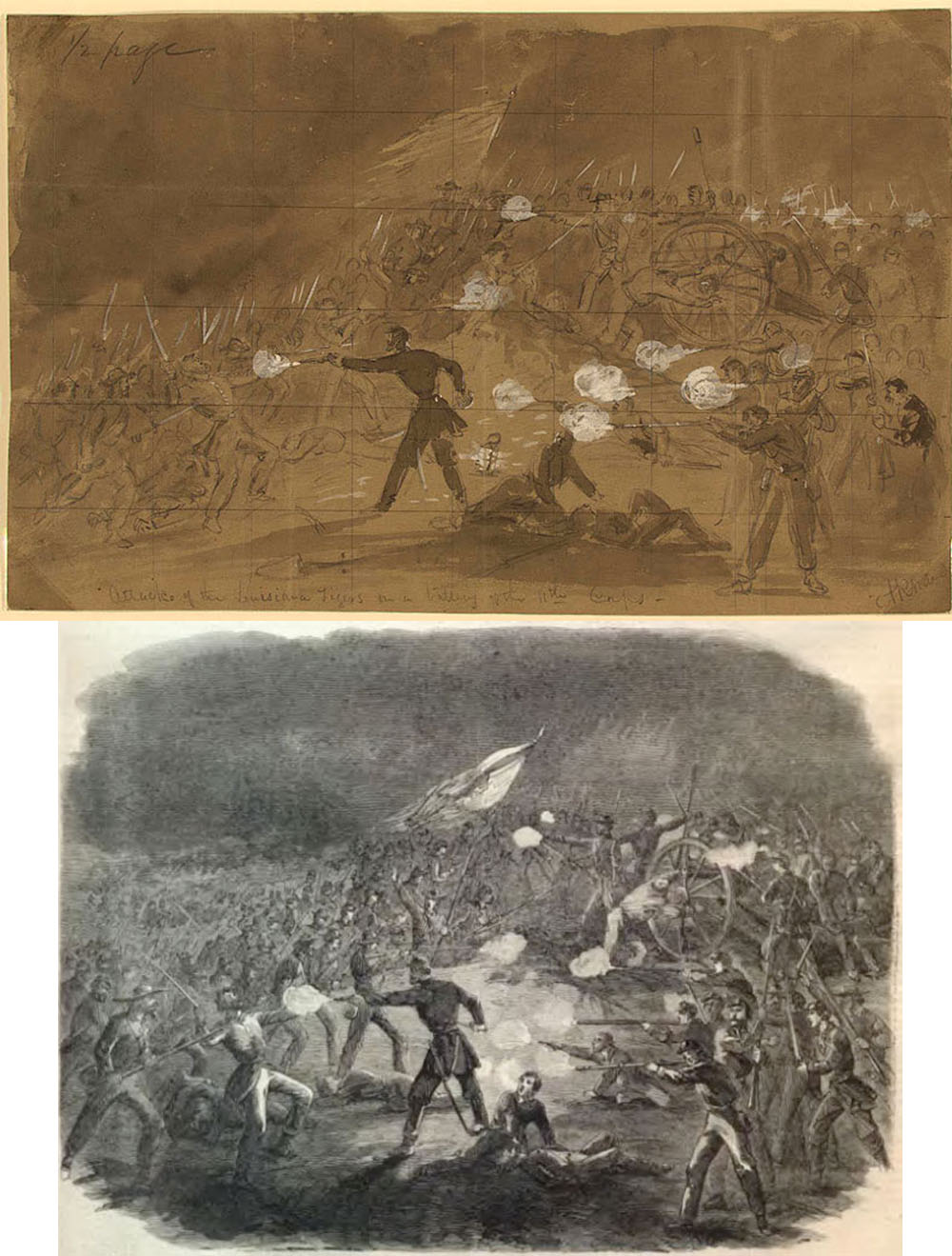 Alfred Waud,Attack of the Louisiana Tigers on a Battery of the 11th Corps at Gettysburg, (July 1, 1863) ink and Chinese white on brown paper; the wood engraving in Harpers of the same scene, published as a half-page illustration on August 8, 1863, the third consecutive issue to provide extensive coverage of the battle
