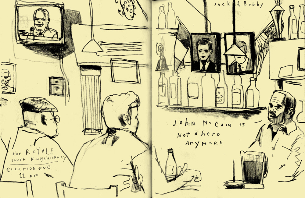 D.B. Dowd, At the Royale, Election Eve, Election Sketchbook, published by the St. Louis Beacon, November 4, 2008