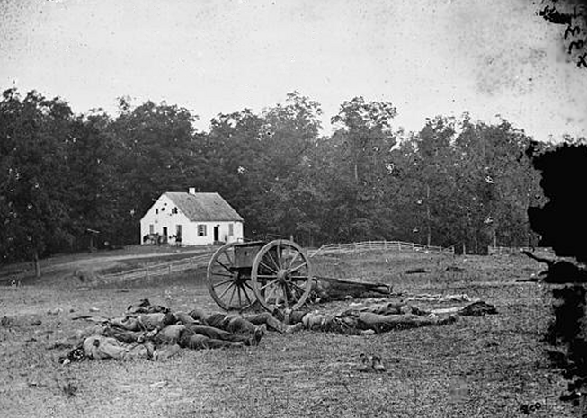 Alexander Gardner, Confederate Dead near Dunker Church, Antietam, 1862