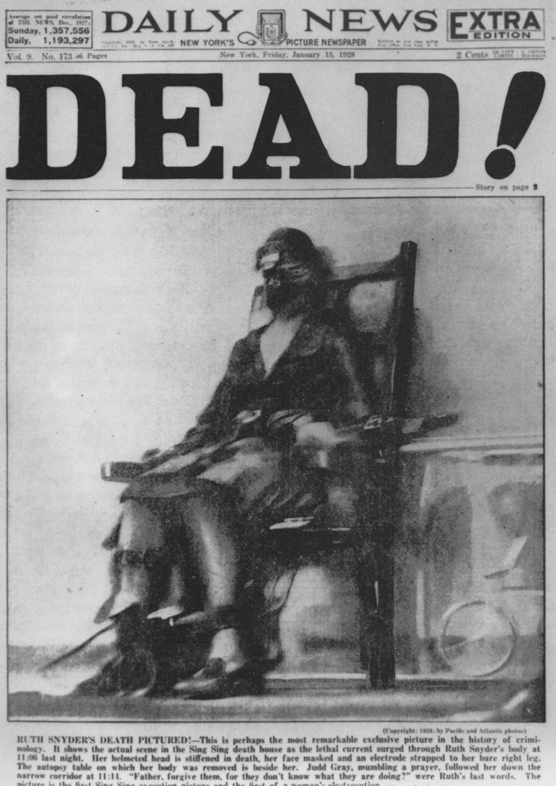 Tom Howard, The Execution of Ruth Snyder, The New York Daily News, January 13, 1928