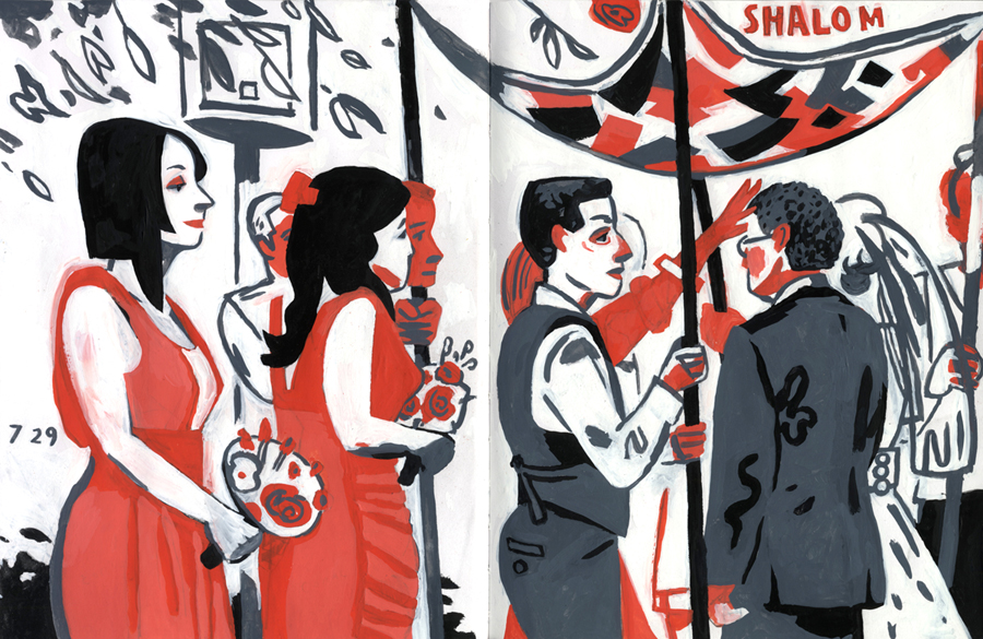 Dowd,  Meyer-Hirshon Wedding Ceremony.  Gouache treatment of s ketchbook drawing.  2012.