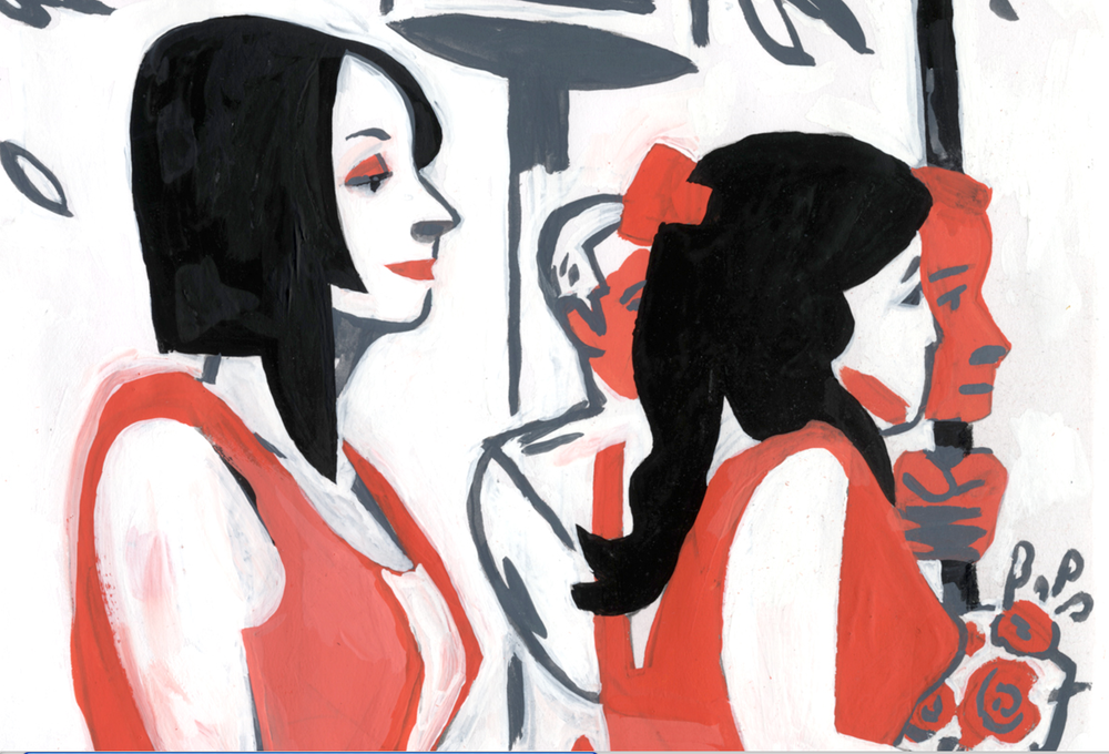 Dowd,   Meyer-Hirshon Wedding Ceremony  ,  Gouache treatment of s ketchbook drawing. Detail of bridesmaids. Gouache. 2012.