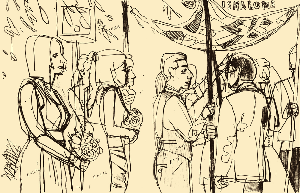 Dowd,   Meyer-Hirshon Wedding Ceremony  .   Sketchbook drawing. 2012.