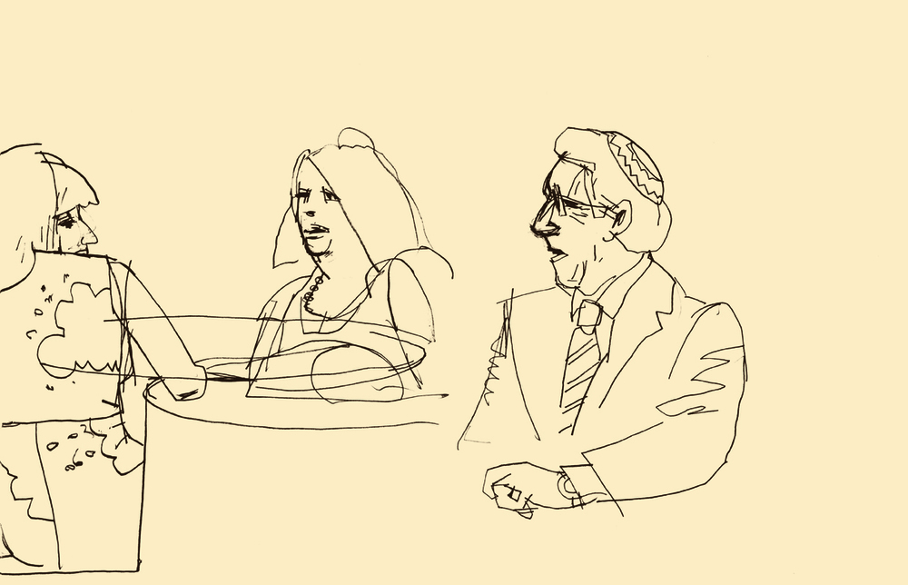 D.B. Dowd,   Women and Rabbi at Meyer-Hirshon Wedding Reception  .   Sketchbook drawing. 2012.