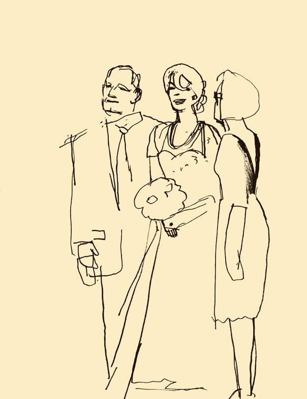D.B. Dowd, Robin with Mom and Dad before the Meyer-Hirshon Wedding. Sketchbook drawing. 2012.