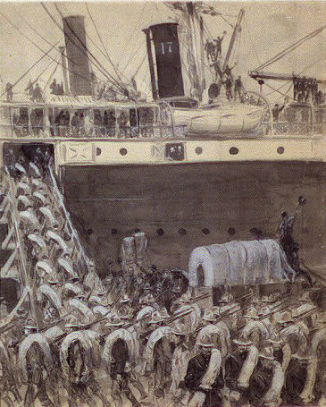 William Glackens, Loading Horses on the Transports at Port Tampa, Inkwash and Chinese white, field sketch on assignment for McClure's Magazine, 1898. Collection, Library of Congress.