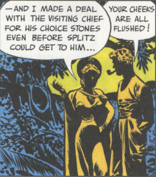 Or people among trees. Milton Caniff, the Steve Canyon Sunday strip published on October 14, 1947.