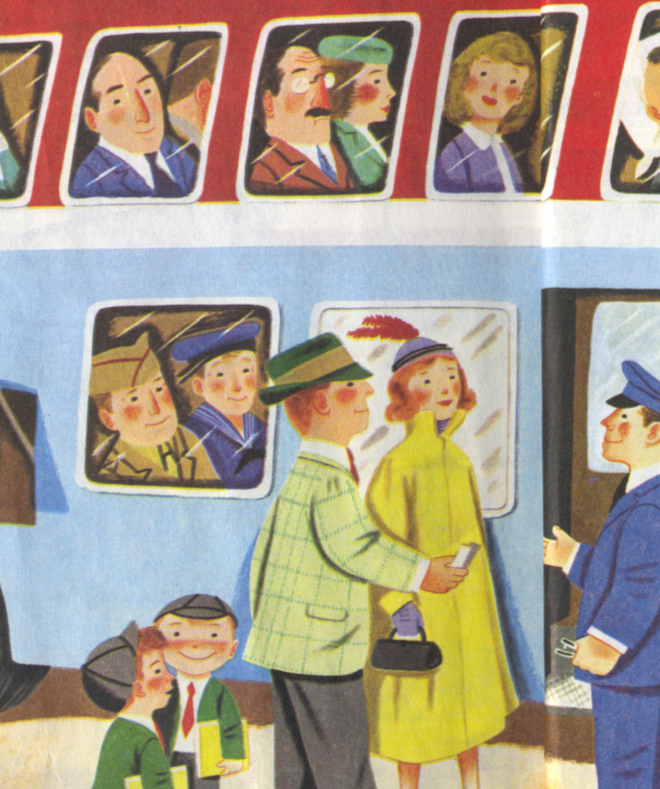 Richard Scarry, in Cars and Trucks, a Golden Book. 1951. A detail of a bus-boarding process.
