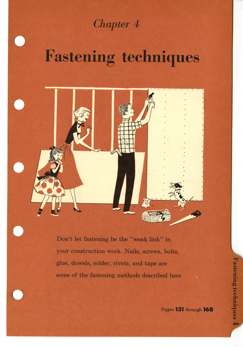 Lorraine Fox (uncredited), Fastening Techniques, section divider illustration, BH & G Handyman's Book, 1957.