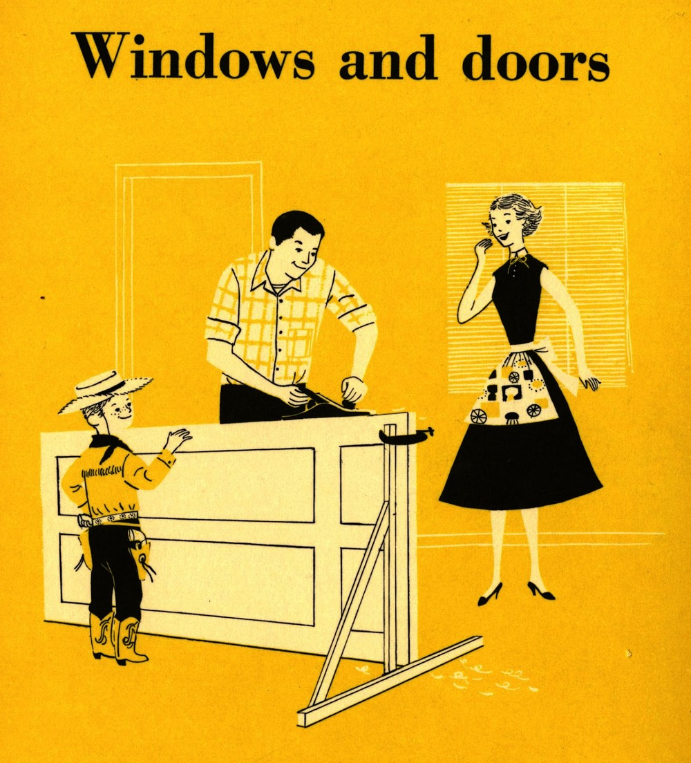 Lorraine Fox (uncredited) ,   Windows and Doors  , section divider illustration,   BH & G Handyman's Book  , 1957.