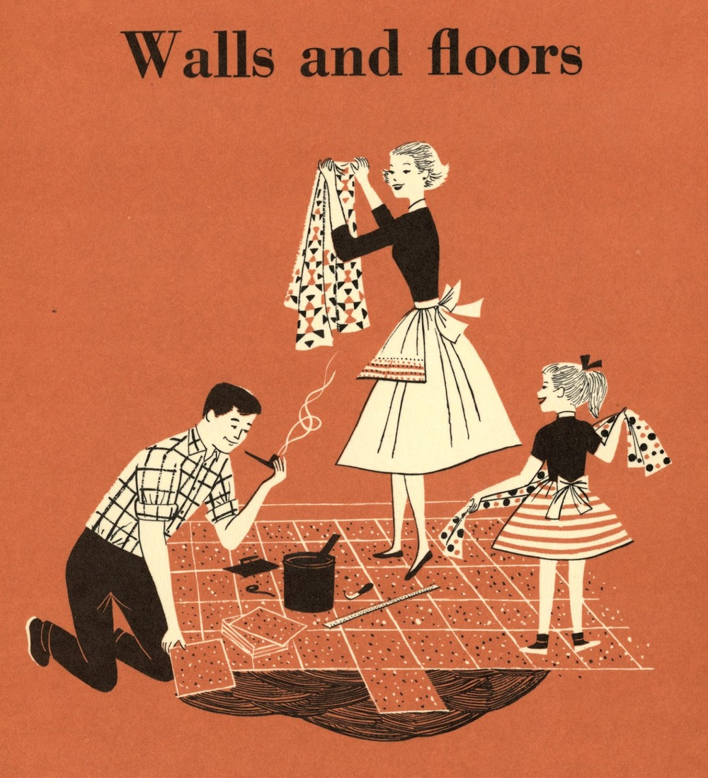 Lorraine Fox (uncredited) ,   Walls and Floors  , section divider illustration,   BH & G Handyman's Book  , 1957.
