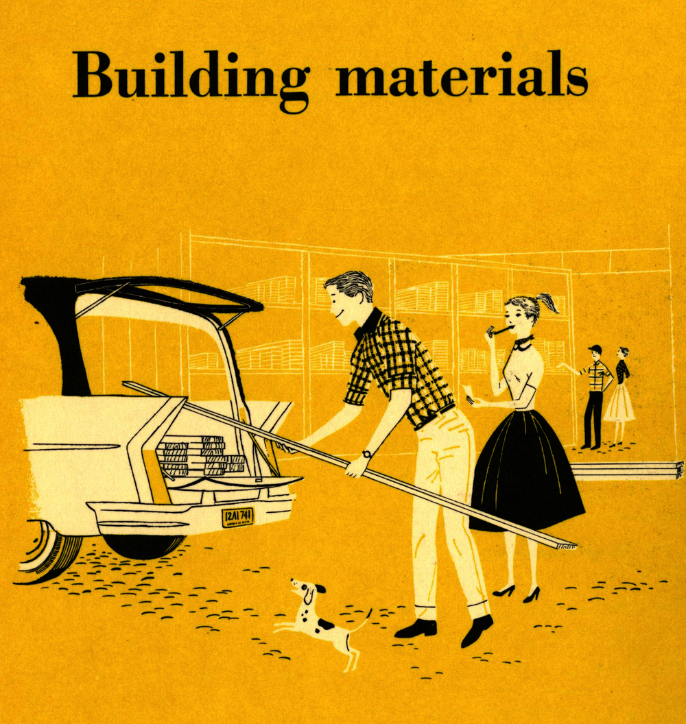 Lorraine Fox (uncredited) Building Materials, section divider illustration, BH & G Handyman's Book, 1957.