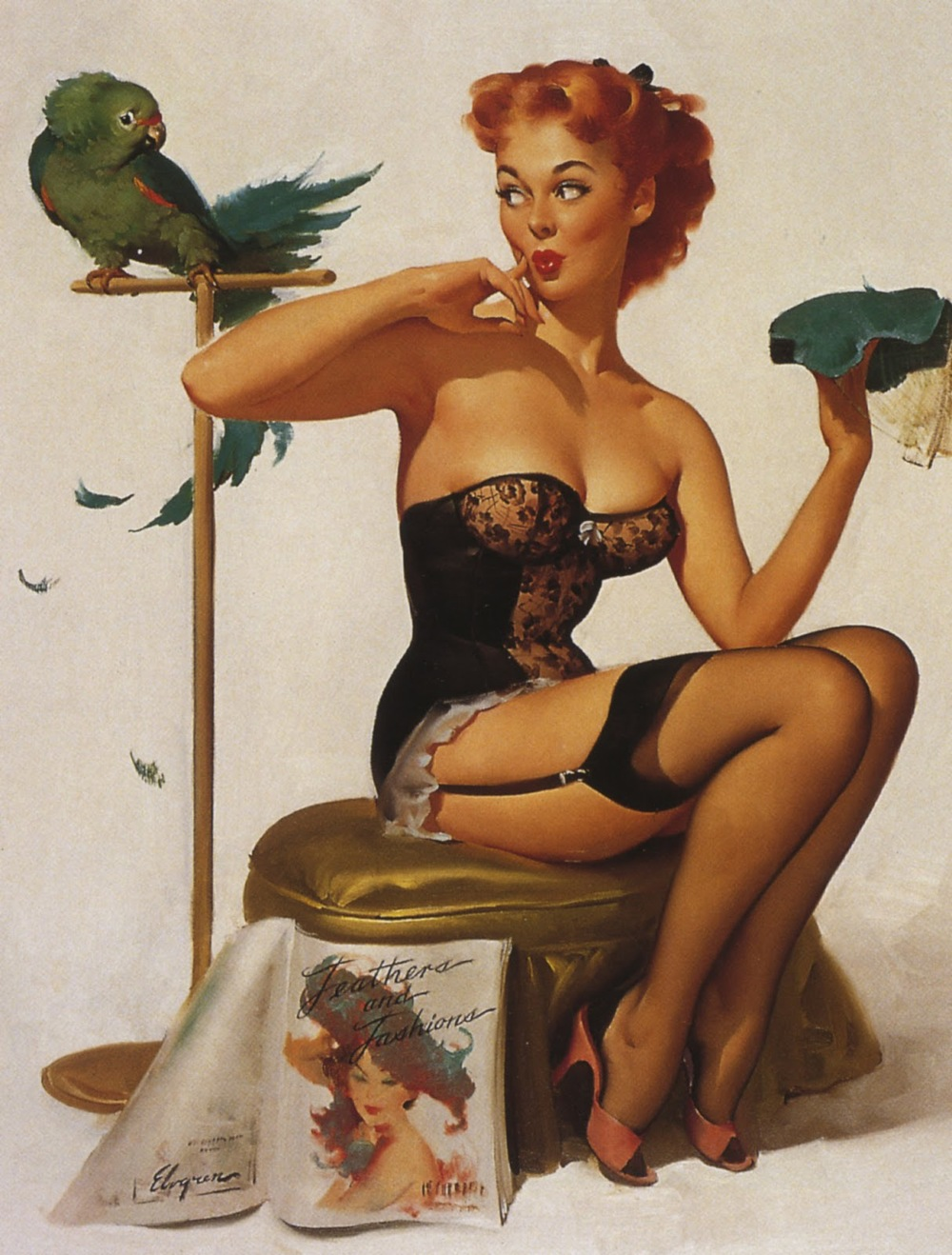 Gil Elvgren, Pin-up Girl with Parrot, circa 1950