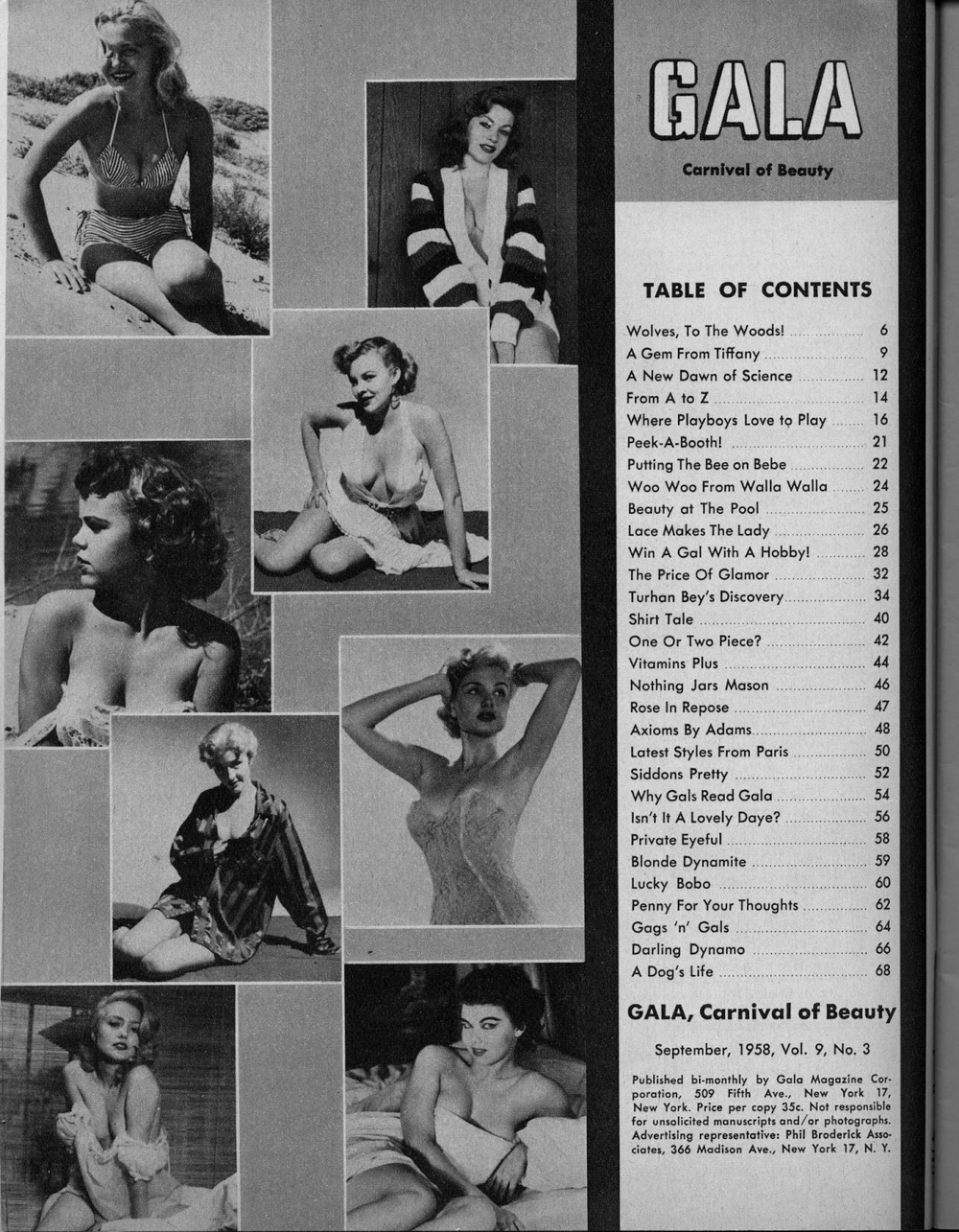 Gala  table of contents; advertisement for stag films, HPB Enterprises, Culver City, California