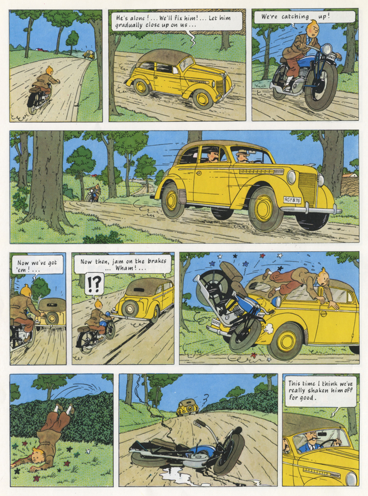 Hergé, page design from King Ottokar's Sceptre.