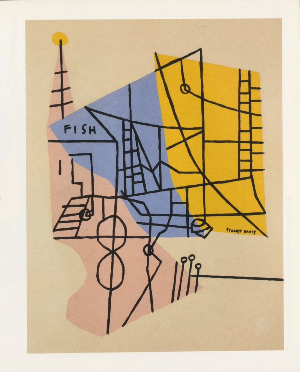 Stuart Davis, Shapes of Landscape Space, probably Gloucester, gouache on paper, 1938